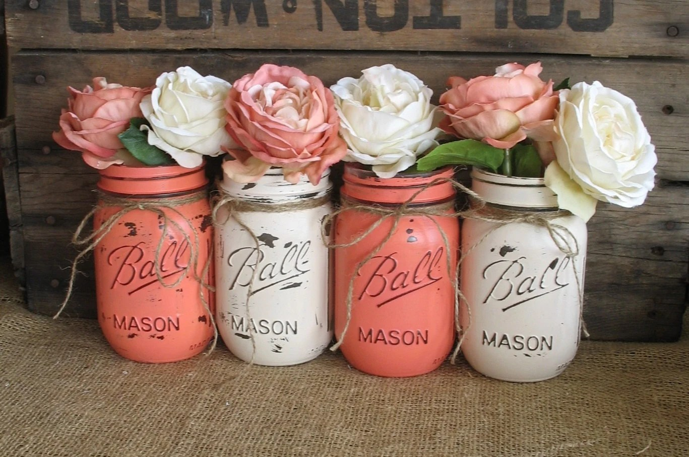 coral centerpiece wedding centerpieces for sale SALE Set of 4 Pint Mason Jars Ball jars Painted Mason Jars Flower Vases Rustic Wedding Centerpieces Coral And Creme Mason Jars