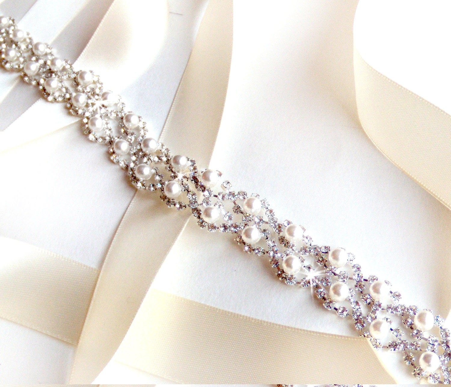 ivory bridal sash rhinestone wedding dress Crystal Pearl Weave Bridal Belt Sash in Silver Custom Satin Ribbon Rhinestone Pearl Wedding Dress Belt Extra Long Thin Belt
