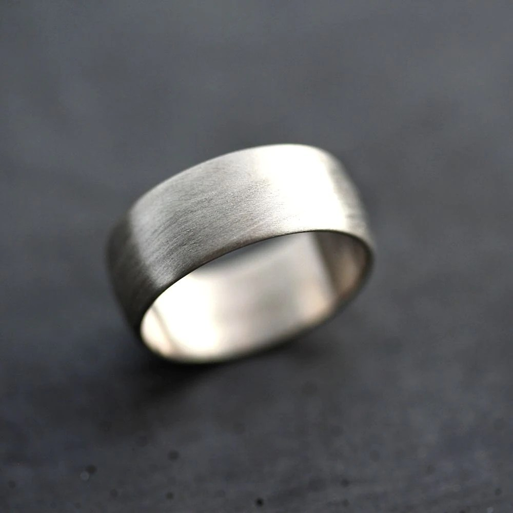 wide mens white gold wedding band brushed gold wedding band zoom