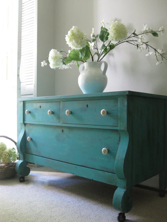 RESERVED for Sandra - Deposit - Hand Painted Cottage Chic Shabby Aqua Romantic Turquoise / Teal Blue Empire Dresser