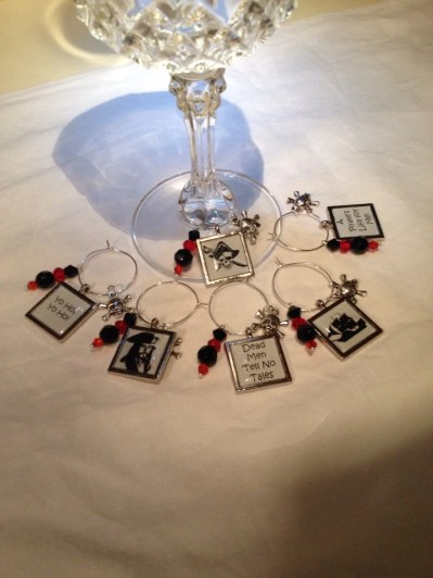 Pirates of the Caribbean inspired tiled epoxy wine charms (6)