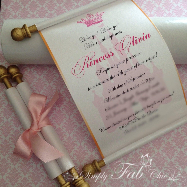 scroll invitations scroll wedding invitations Royal Disney Princess Scroll Invitation Birthday Wedding Invitation Handmade Prince Invitation Christening Birth Announcement Set of 10