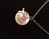 Hand Stamped Breast Cancer Courage Necklace