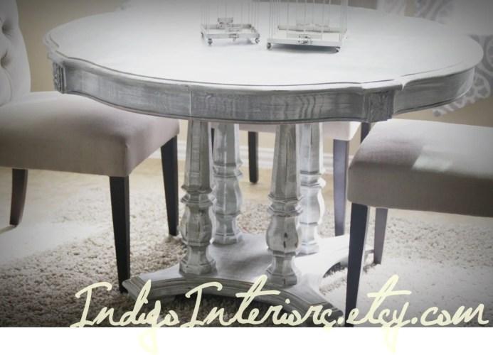 gray white washed round dining room whitewash kitchen table Washed Round Dining Room Kitchen Table zoom