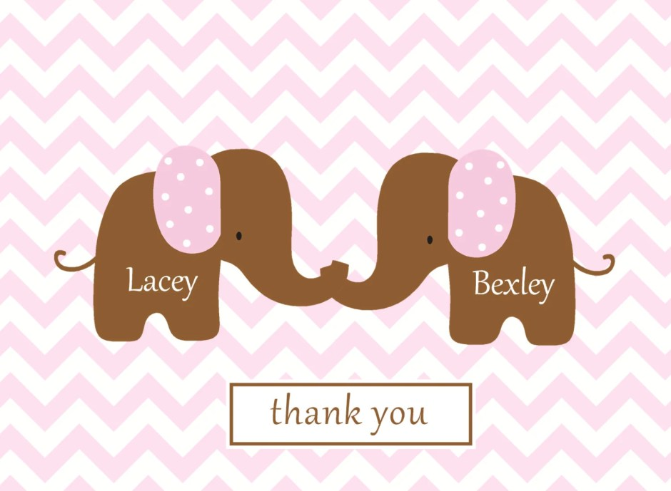 Chevron note card baby th...