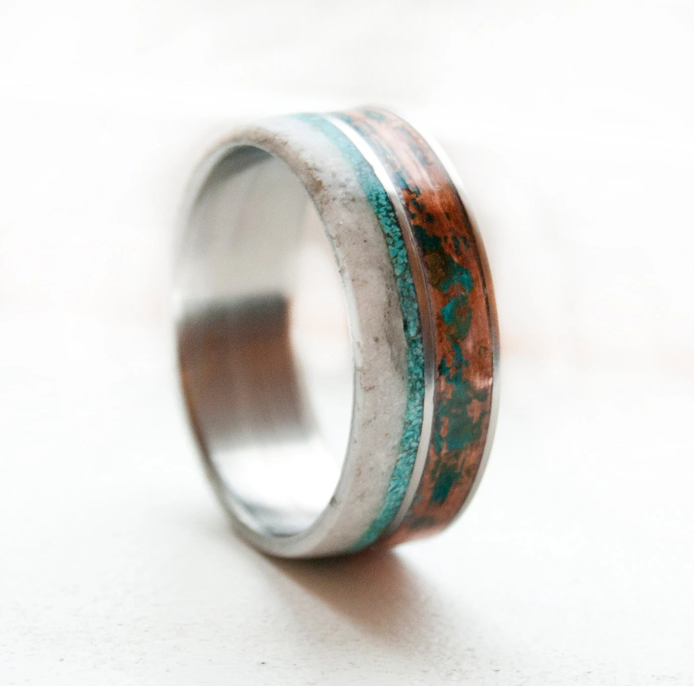 mens silver and turquoise wedding rings turquoise wedding bands Mens silver and turquoise wedding rings