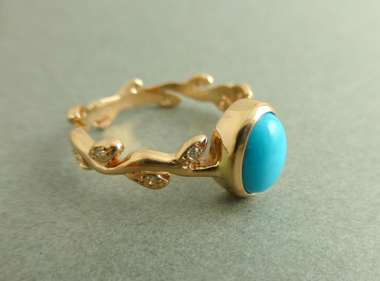 turquoise engagement ring leaf turquoise wedding bands Leaf engagement ring with Turquoise zoom
