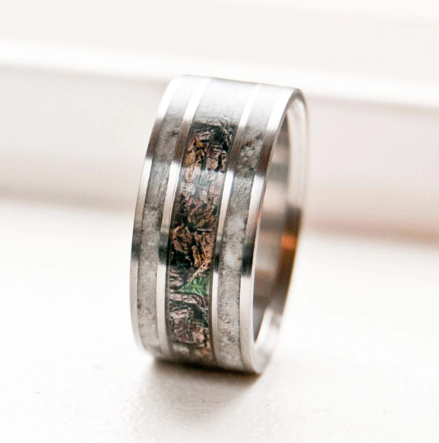 camo wedding band mens camo wedding bands Mens Wedding Band Camo with Antler Ring Staghead Designs