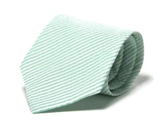 Mint Seersucker Necktie - Mint Green Men's Tie