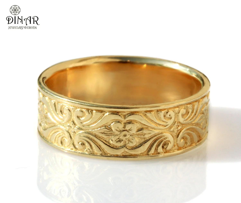 18k gold vintage design wedding band wide wedding bands zoom