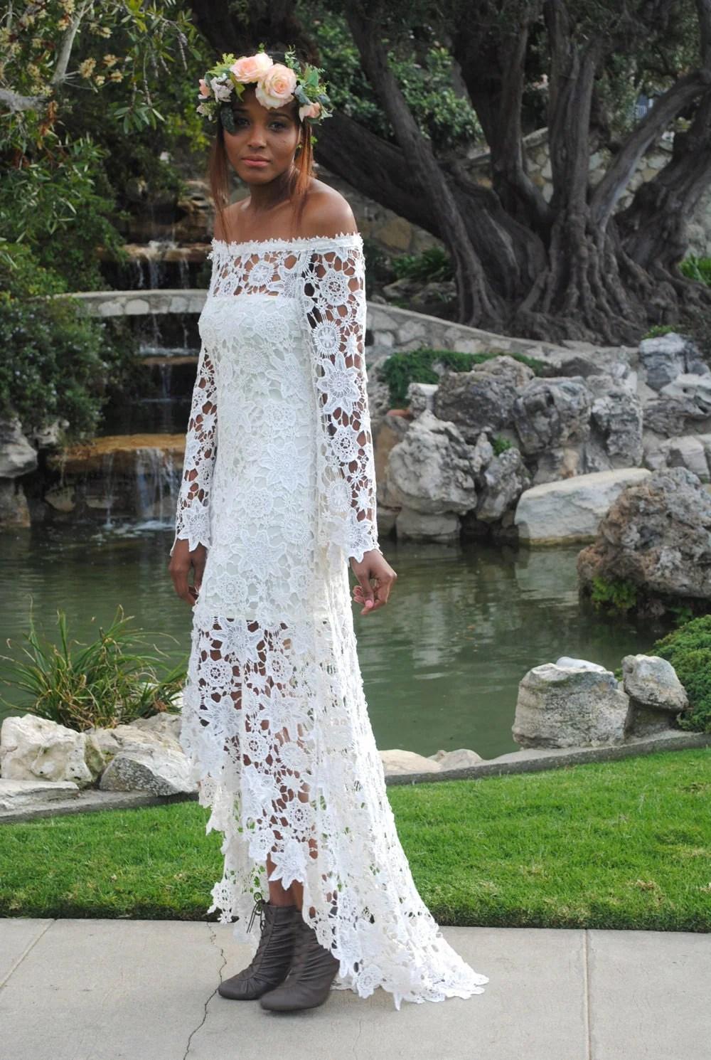 high low lace bohemian wedding dress off boho wedding dresses Hippie Wedding Dress zoom