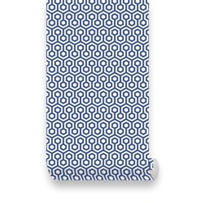 Items similar to Honeycombs Blue Removable Wallpaper - Peel & Stick, Repositionable Fabric on Etsy