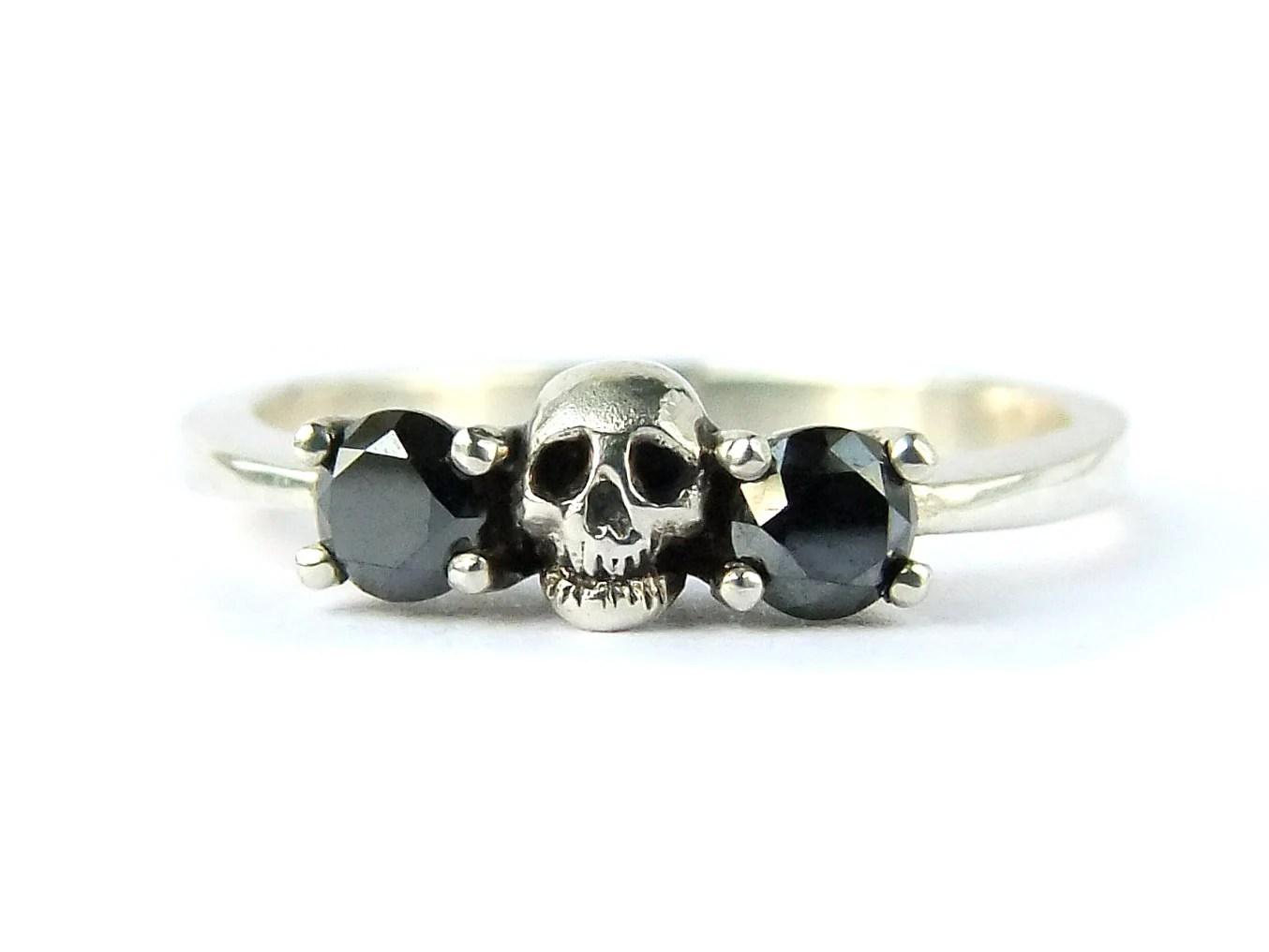 skull wedding set white gold band black black wedding ring sets zoom
