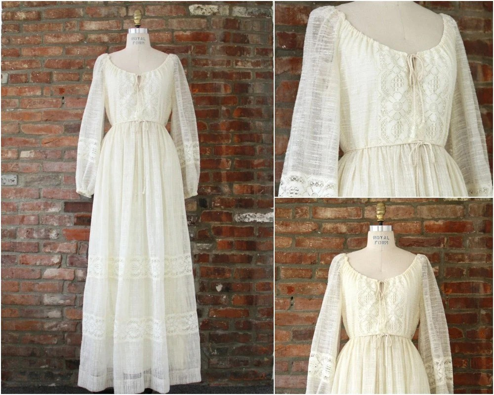 70s boho wedding dress ivory gauze lace peasant style wedding dress zoom