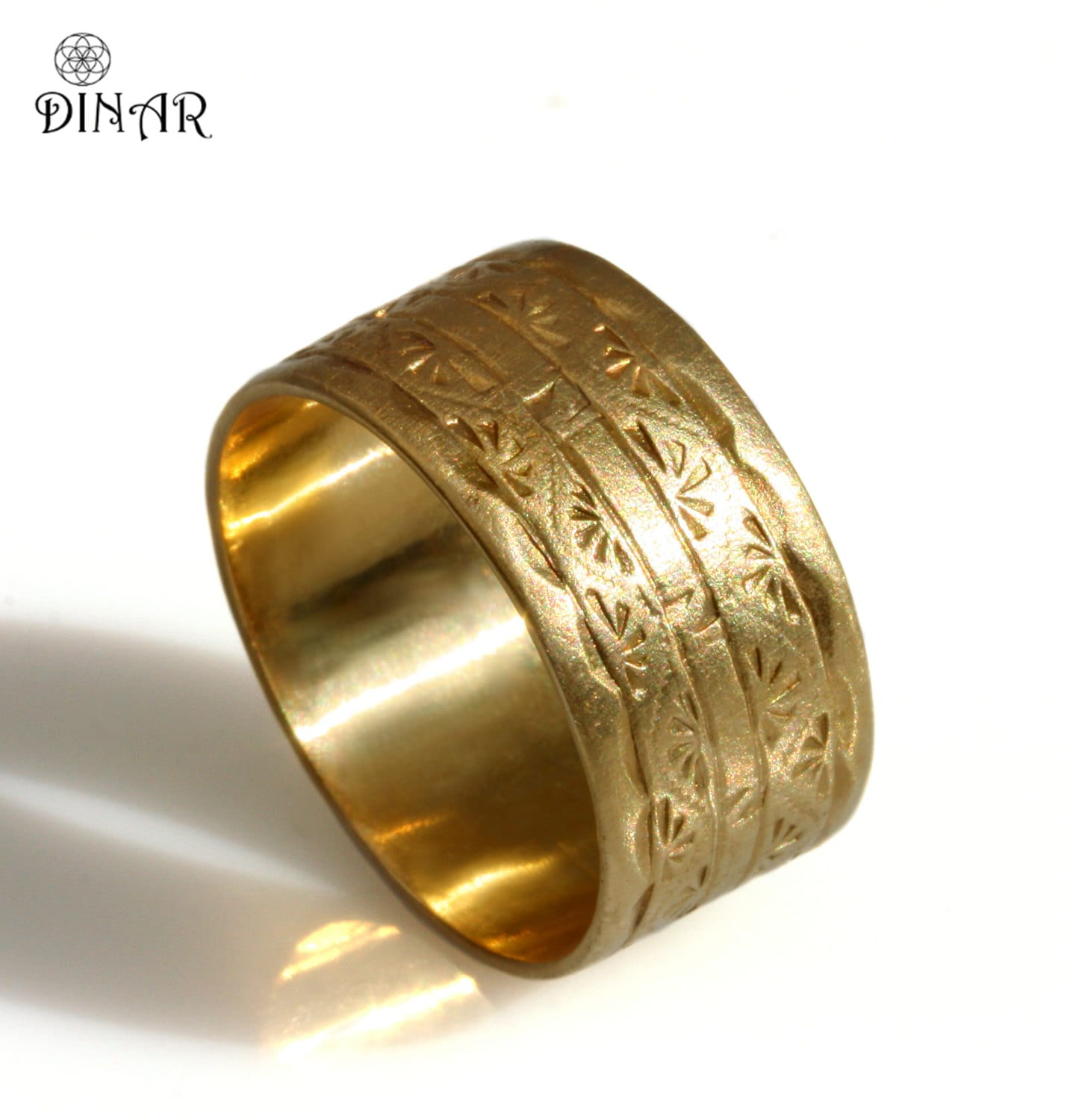 10mm wedding band wide band wedding rings 14k solid yellow gold band 10mm wide Wedding Band Art Deco engravings men s wedding ring wide gold band hand engraved patterned men band