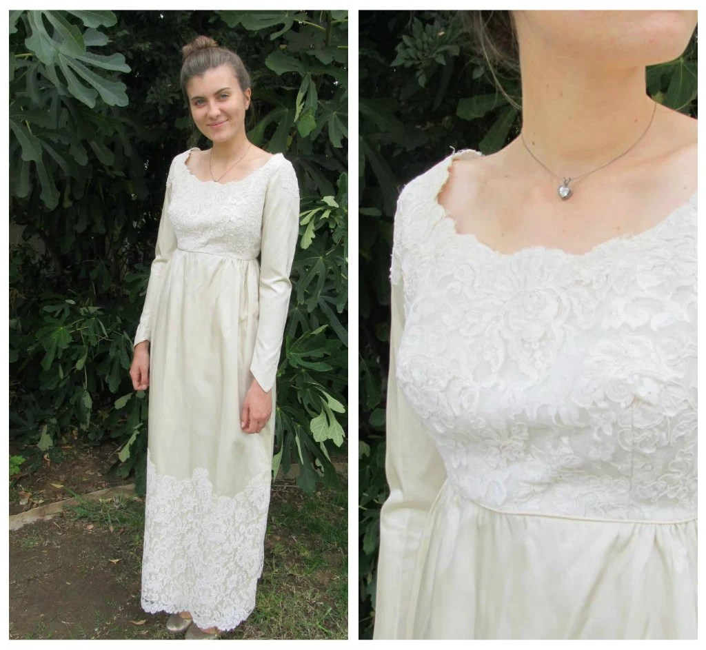 50s 60s empire waist satin and lace 60's wedding dress zoom