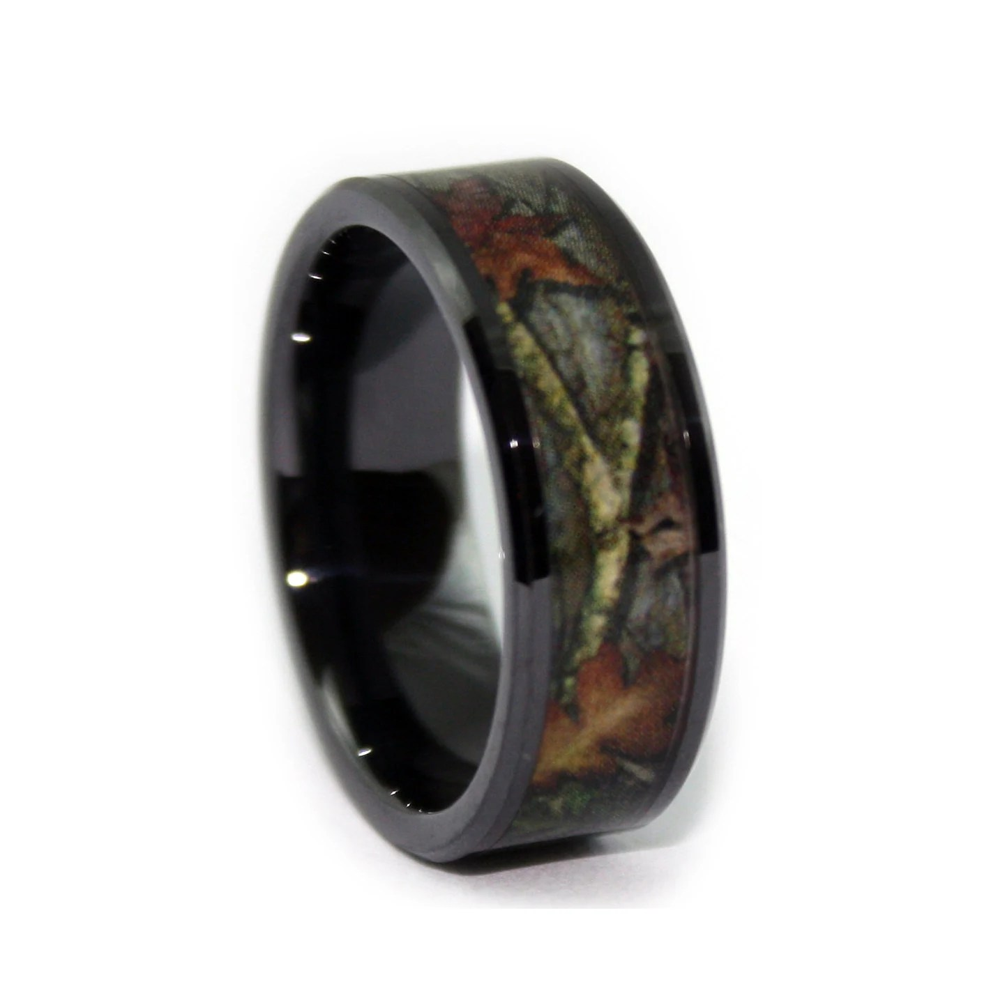 black camo wedding rings by one camo 8mm mens camo wedding bands zoom