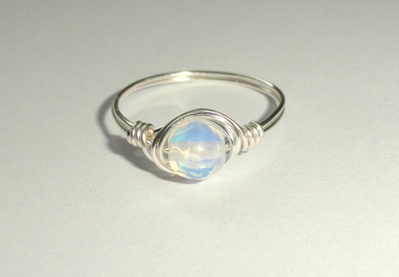 moonstone ring moonstone wedding rings Moonstone ring Silver wire wrapped moonstone ring Moonstone wire wrapped ring Gemstone ring Silver moonstone ring
