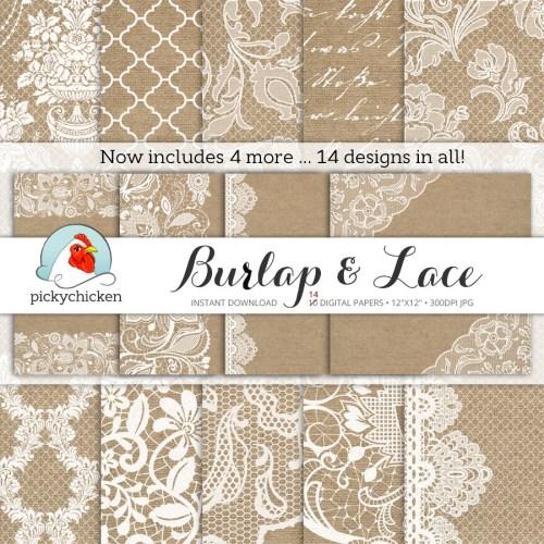 Medium Of Burlap And Lace