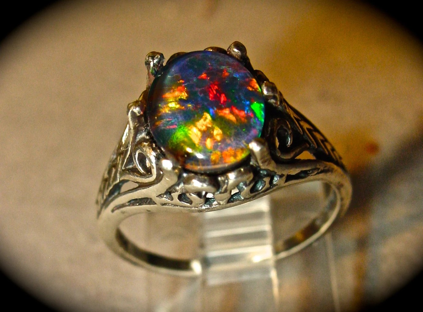 real black opal ring opal wedding rings Antique Filigree style Opal Engagement Ring Spectacular Australian Opal Triplet or Solid White or Black opal Gold or Silver ITEM A95