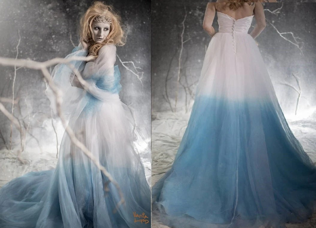 ombre wedding dress green wedding dress Frozen Ombre Blue Wedding Dress with Crystal Detail Couture Wedding Gown Colored Wedding Dress Pink Blue Green Yellow Orange Purple