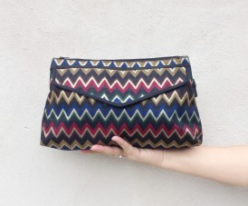 original MISSONI pochette / Vintage envelope handbag / italian designer purse / chevron gold blue bag
