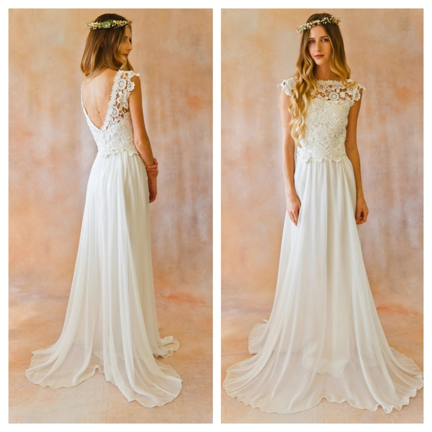 flowy wedding dress flowy wedding dresses Amy 2 Piece Lace Silk Chiffon Bohemian Wedding Dress OPEN BACK boho style crochet lace wedding dress Ivory or White Silk Skirt and Top