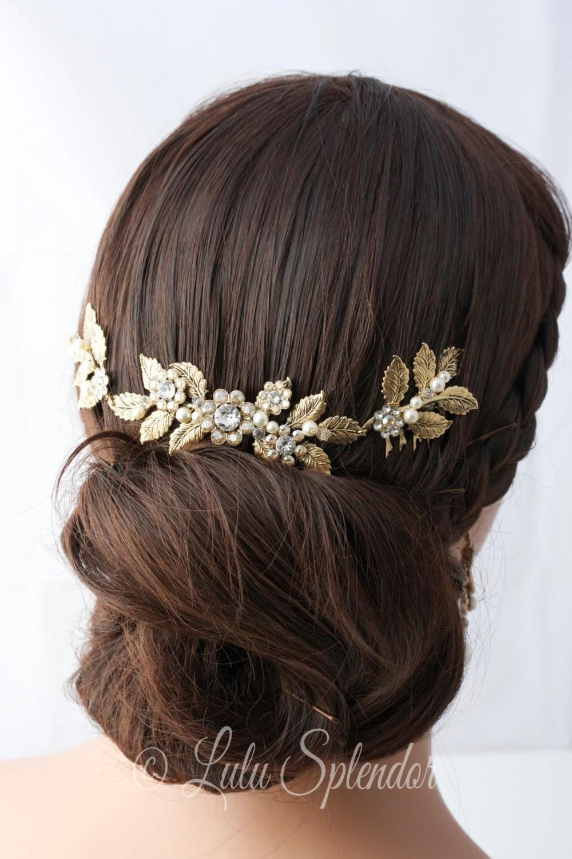 bridal hair piece wedding hair combs Antique Gold Wedding Headpiece Leaf Head Piece Bridal Hair Comb Swarovski Golden Shadow Crystal Leaf Hair Vine Bridal Hair Accessory STACEY