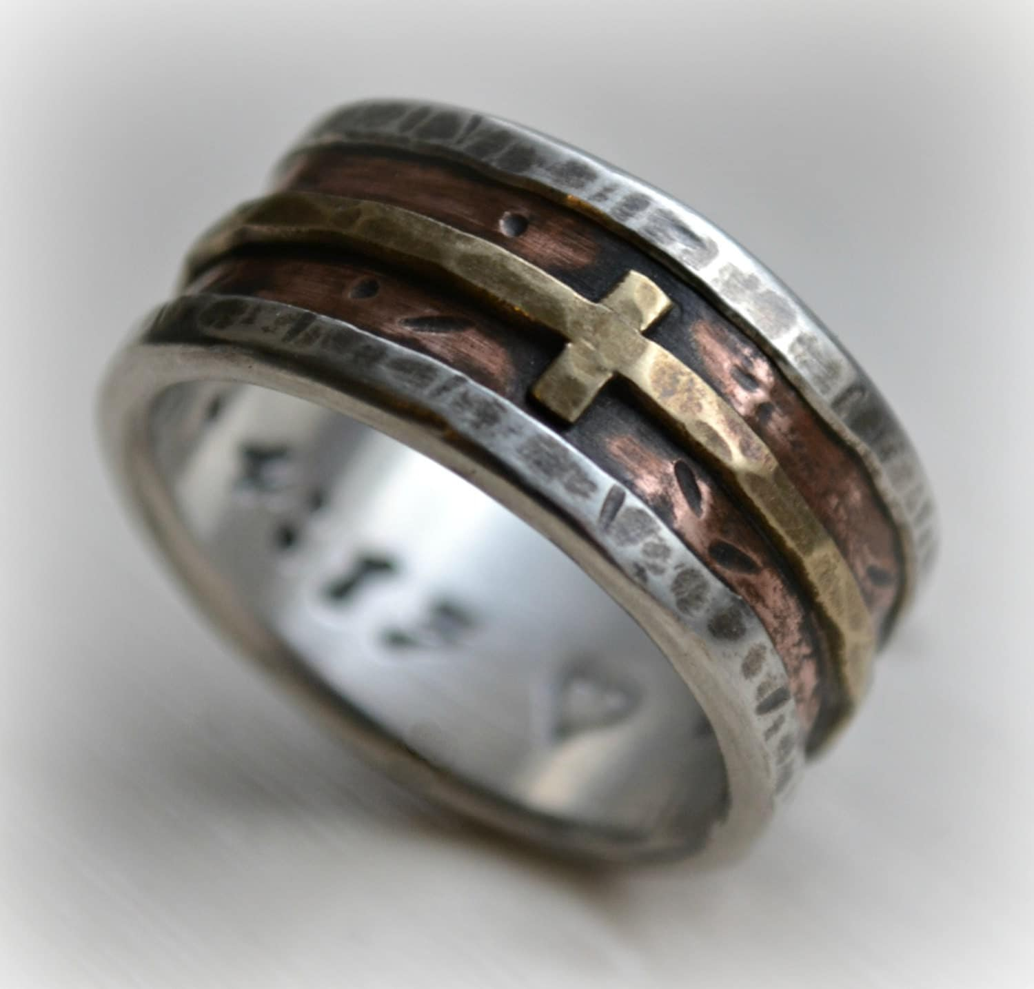 mens cross ring silver mens wedding bands mens wedding band rustic fine silver copper and brass cross handmade artisan designed wide band ring manly Christian ring customized