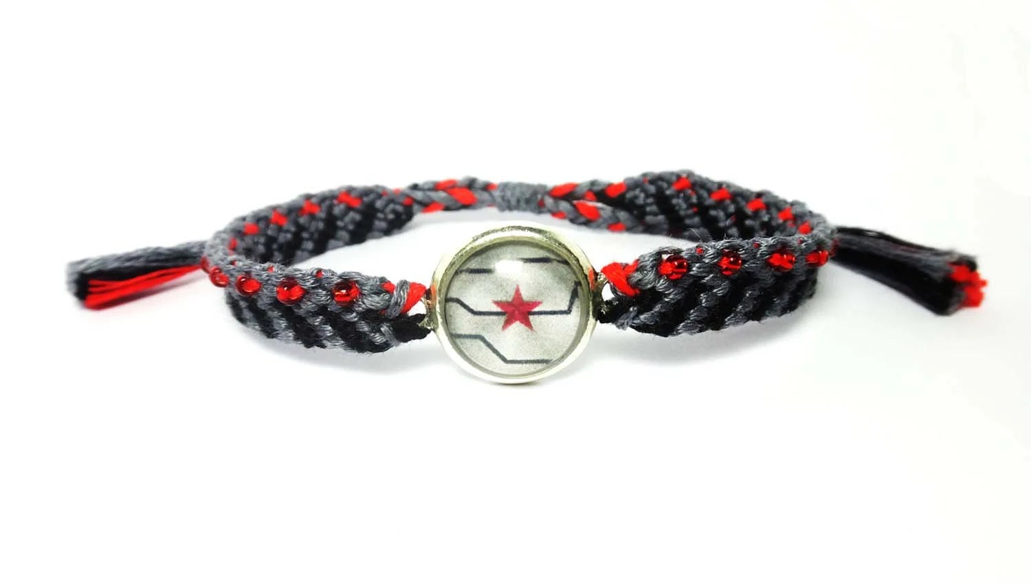 bucky barnes captain america wedding band Winter soldier inspired Friendship Bracelets Bucky Barnes captain america cabochon seed beads