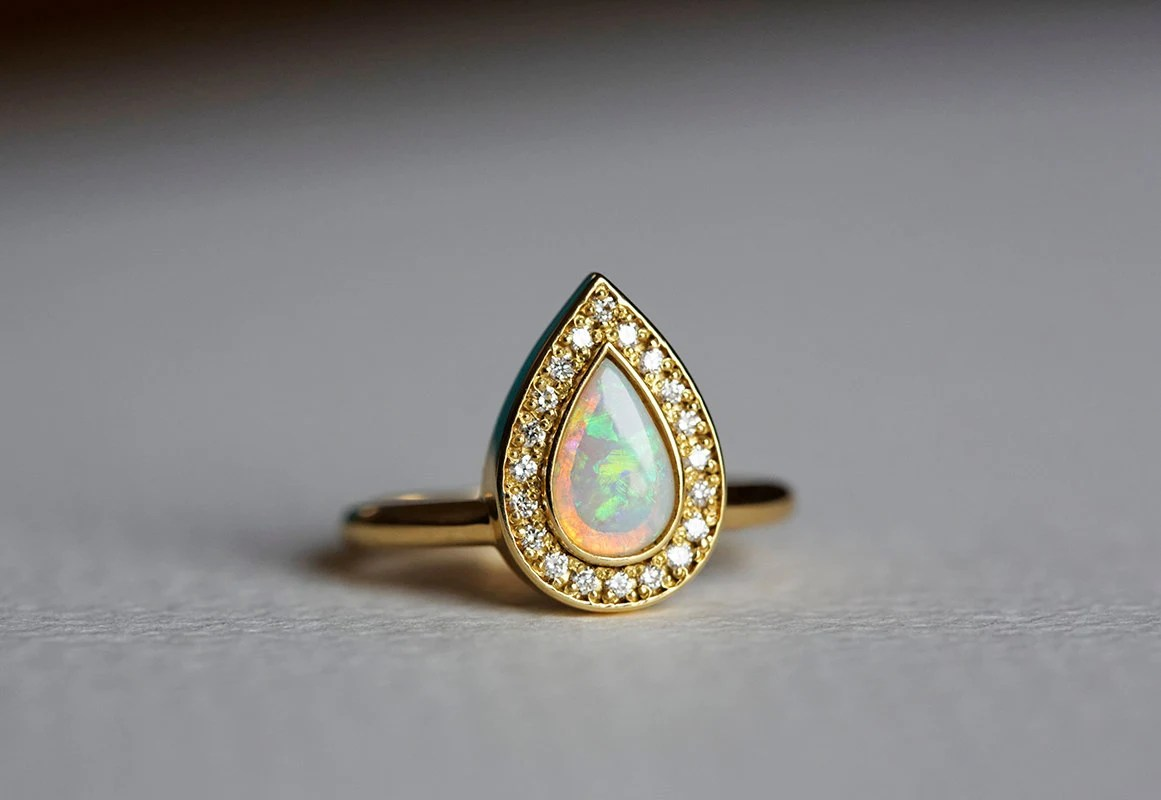 opal engagement ring gold engagement opal wedding rings zoom