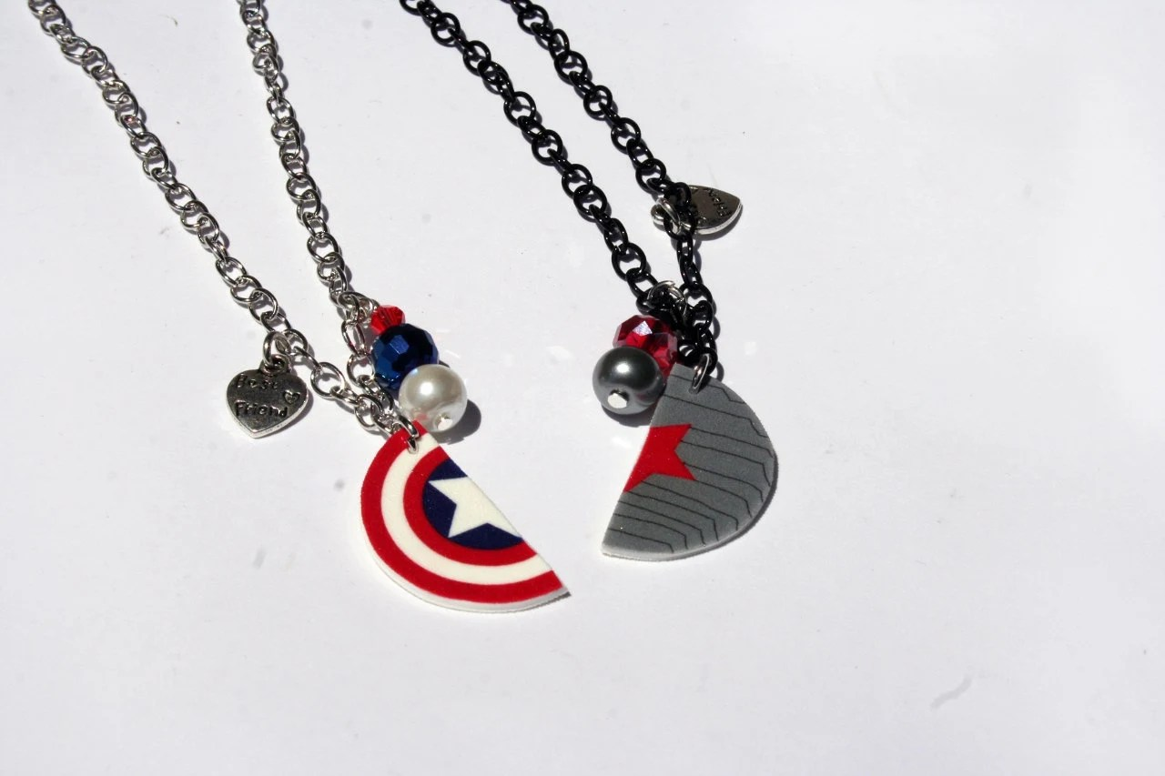 captain america captain america wedding band Winter Soldier Captain America Inspired Best Friend Necklaces