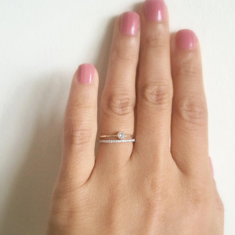 dainty diamond ring deadpool wedding ring Dainty Engagement Ring 10 CT SOLID 14k gold Dainty Diamond Ring Thin Diamond Ring Stacking Ring Wedding Ring Tiny Bezel Diamond