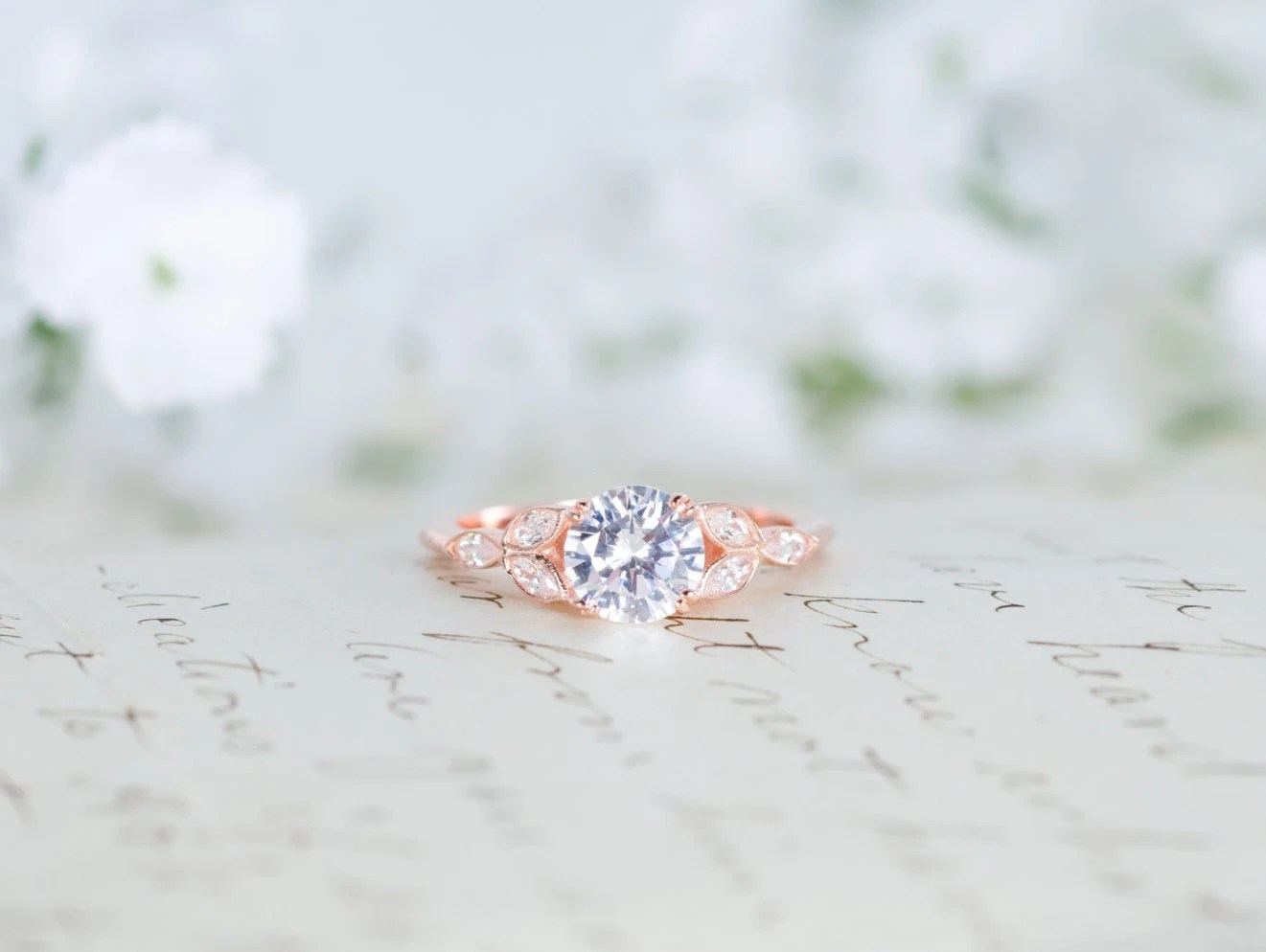 rose gold engagement ring art deco ring rose gold wedding rings zoom