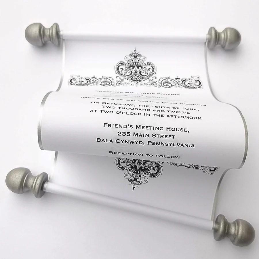 elegant wedding invitation scrolls black scroll wedding invitations zoom