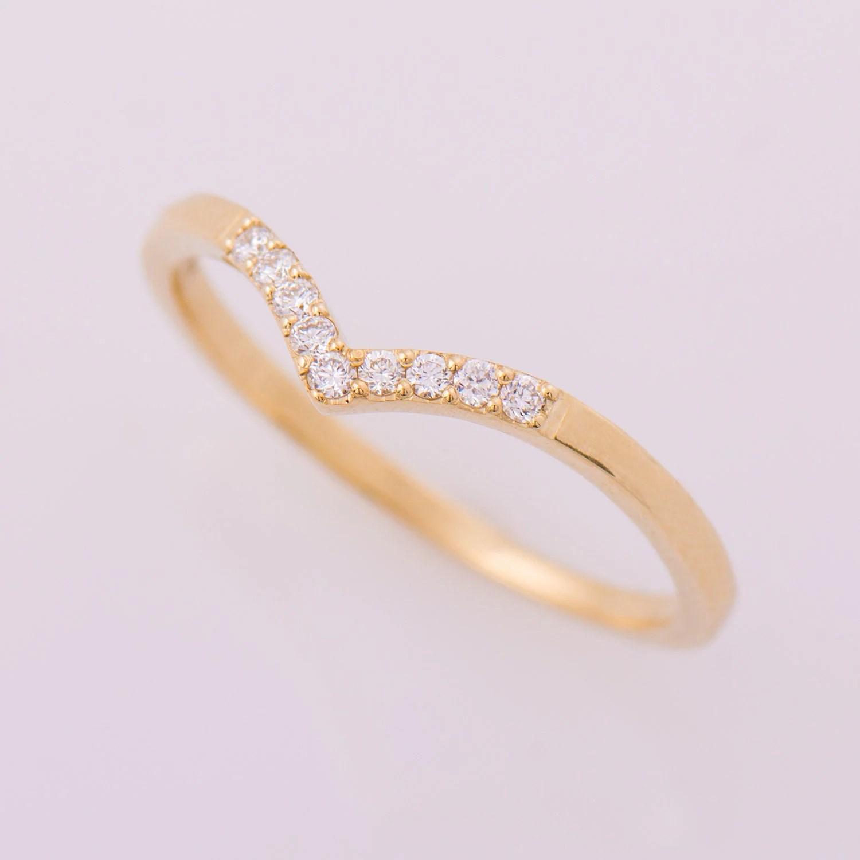 curved wedding band contour diamond wedding band Chevron Ring 14K Yellow Gold Diamonds Ring V Shaped Ring Curved Ring Thin Diamond Ring Dainty Wedding Band Diamond Wedding Ring