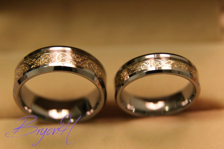 engagement ring western style wedding rings Tungsten Wedding bands set Matching size Tungsten Wedding Ring Inlay gold Engraved ring