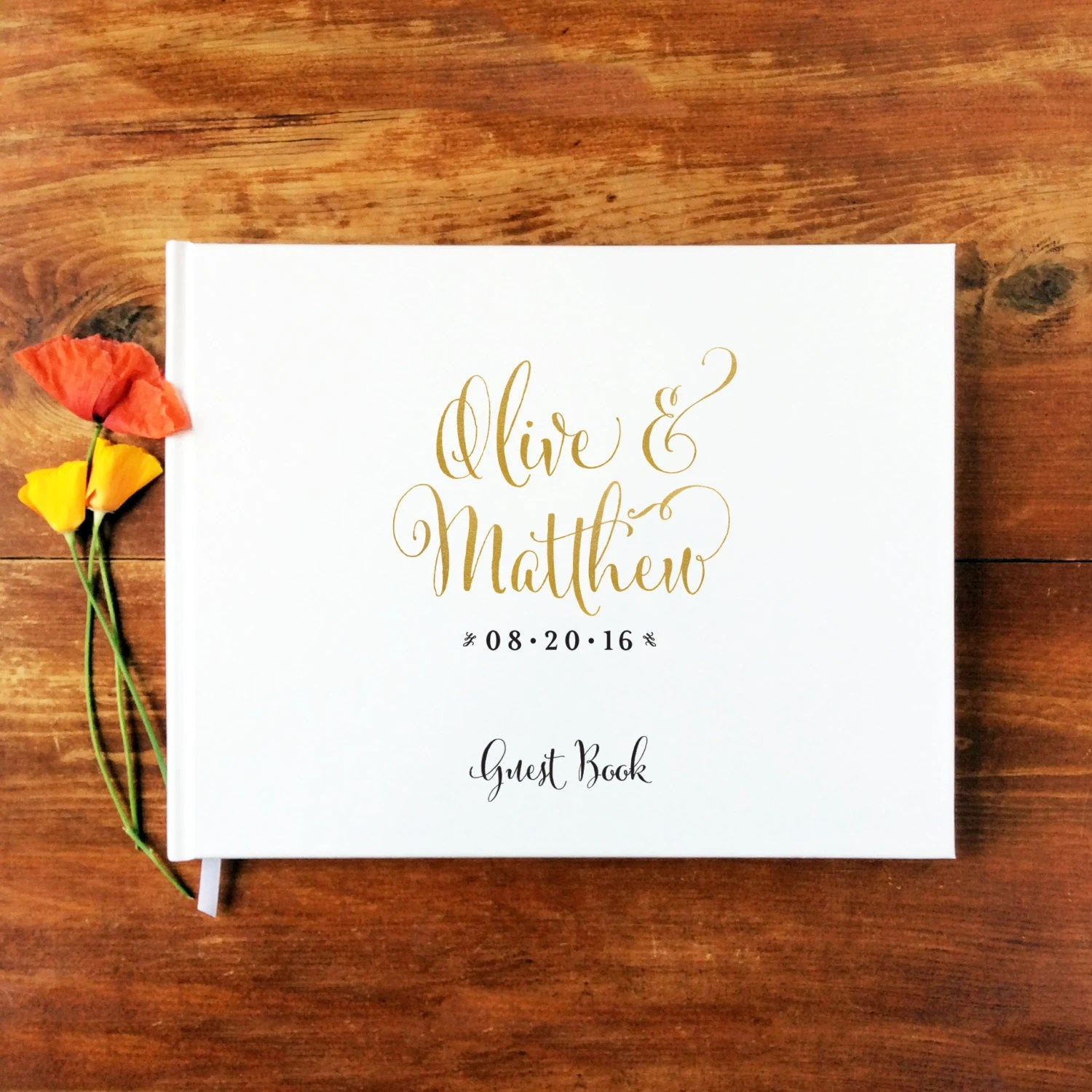 calligraphy wedding books Wedding Guest Book Landscape 1 Hardcover Wedding Guestbook Custom Guest Book Personalized Guest Book Gold Calligraphy