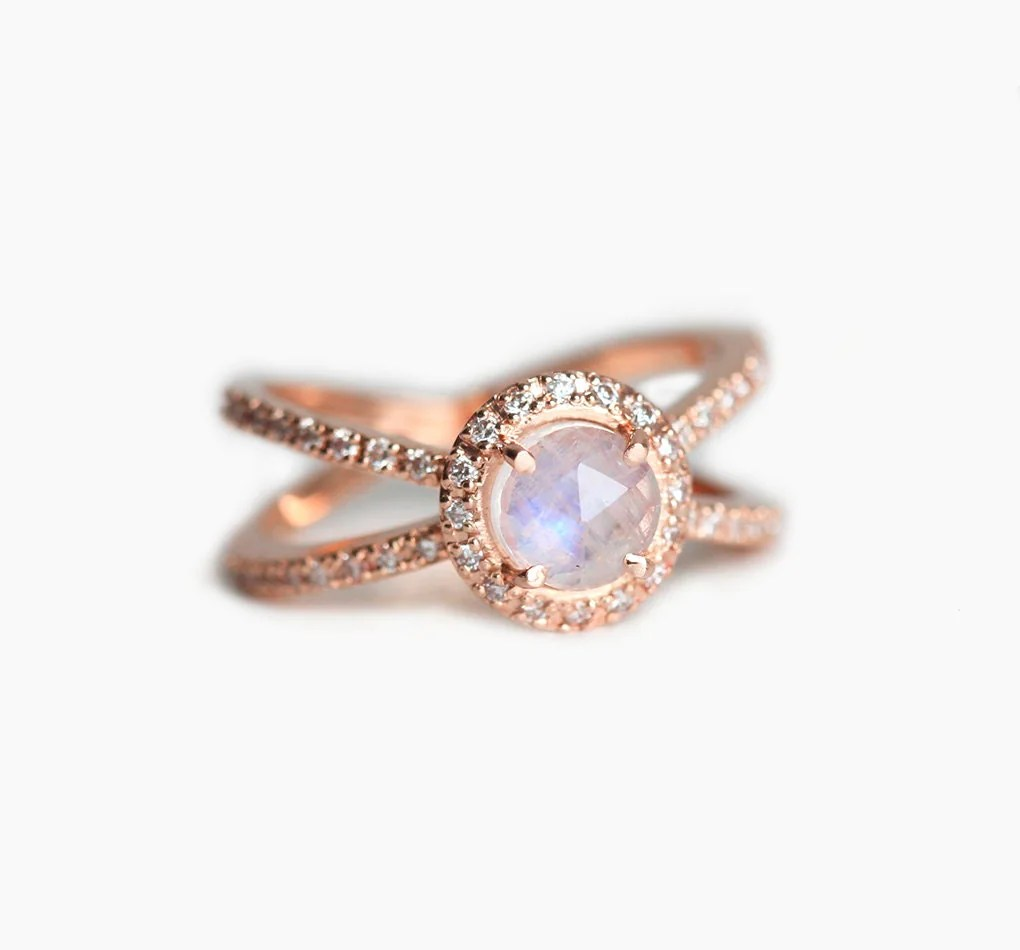 moonstone halo ring moonstone wedding rings Rose Gold Engagement Ring Moonstone Diamond Ring Rose Gold Diamond Ring Double Diamond Band Ring Twisted Diamond Ring