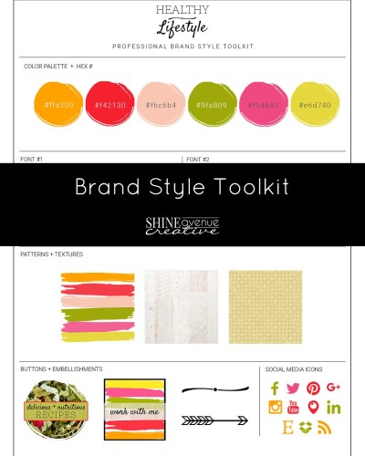Healthy Lifestyle Brand Style Toolkit DIY branding for blogs