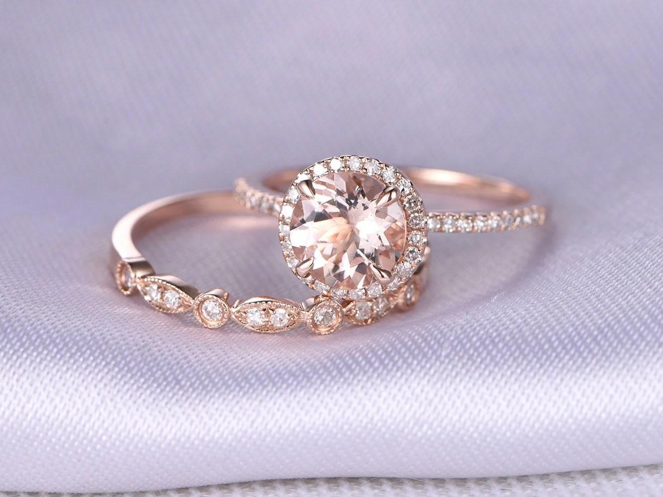 rose gold ring rose gold wedding rings Morganite Engagement ring 2pcs Wedding Ring Set 14k Rose gold Art Deco diamond Matching Band 7mm Round Stone Personalized for her Custom