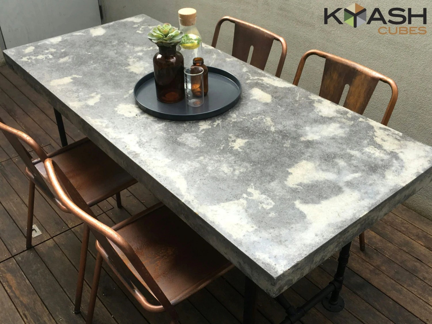 polished concrete concrete kitchen table Polished concrete dining table patio outdoor industrial look table and base mm mm two tone charcoal and grey with steel base