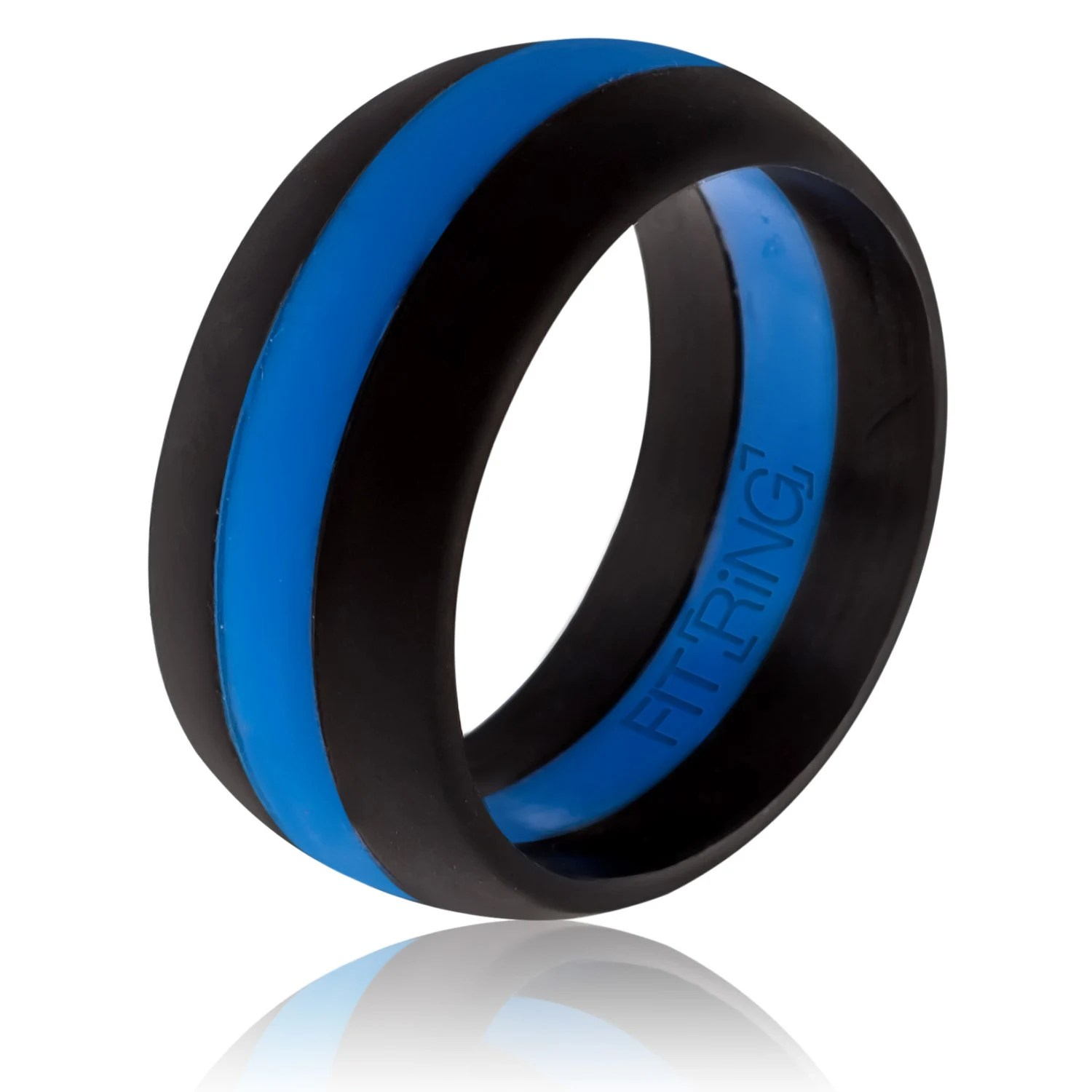 fit ring powered by arthletic mens mens silicone wedding band Fit Ring Men s Silicone Wedding Ring Thin Blue Line Powered by Arthletic Law Enforcement Silicone Wedding Band Police Safe Rings
