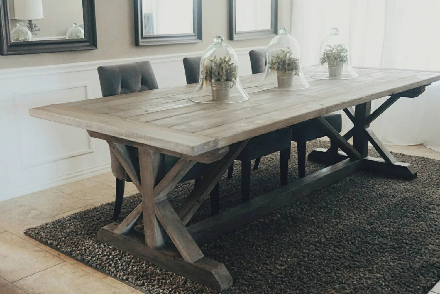 trestle gray kitchen table Made to Order inch X Style Farmhouse Trestle Table