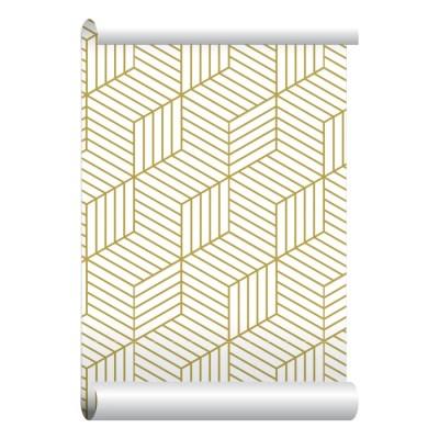 Self-adhesive Removable Wallpaper 3D Blocks Gold Wallpaper