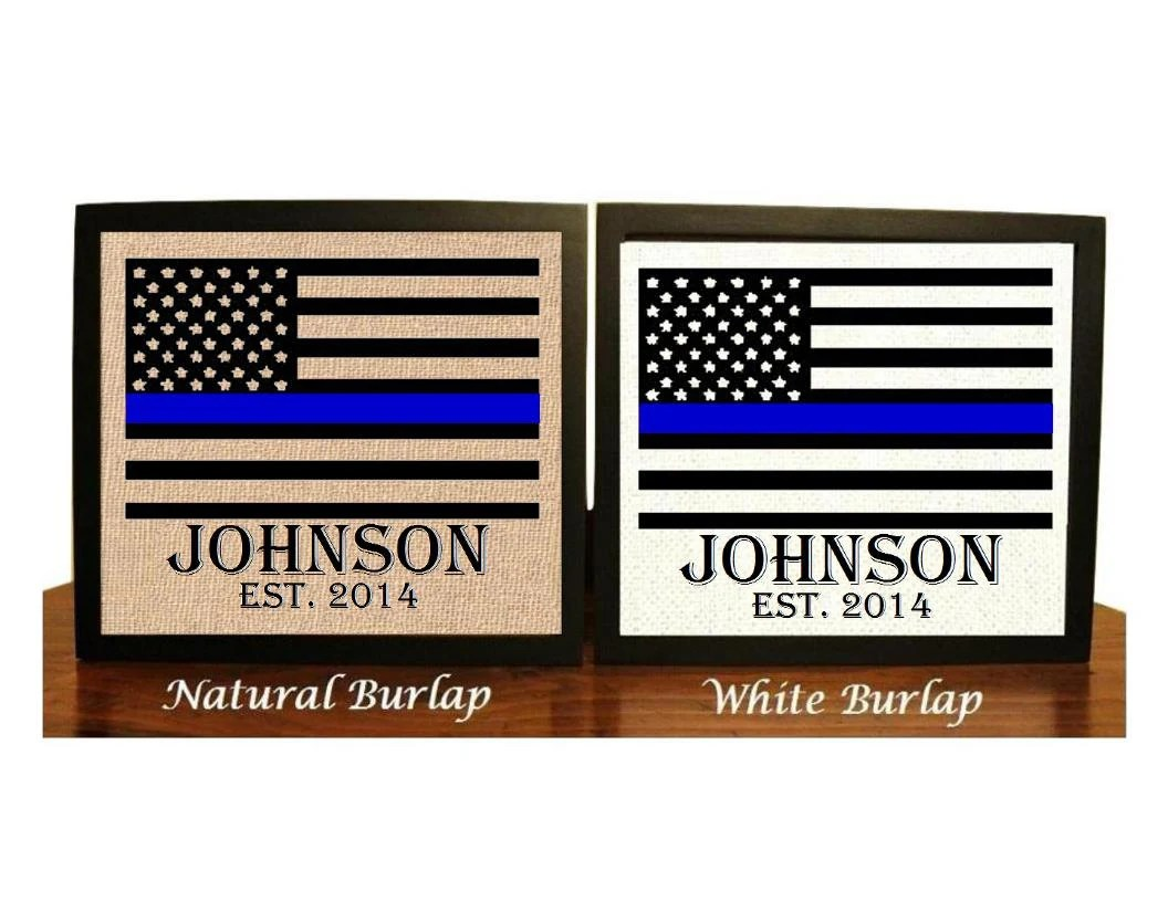 police wedding police wedding bands Police officer gift Thin Blue Line Family Name Burlap Print Police Officer Print