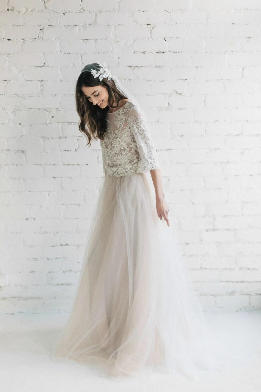 bohemian wedding dress two piece bridal boho wedding dresses zoom