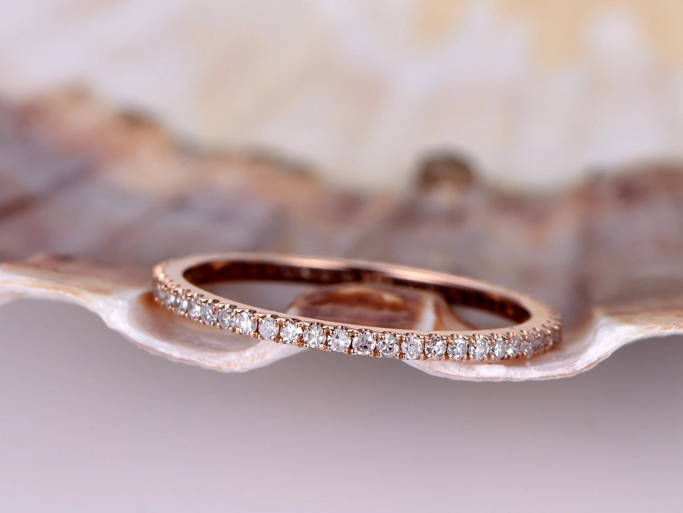 micro pave band micro pave wedding band Diamond wedding band Petite French micro pave band solid 14k rose gold FULL eternity ring engagement ring stack matching band thin band