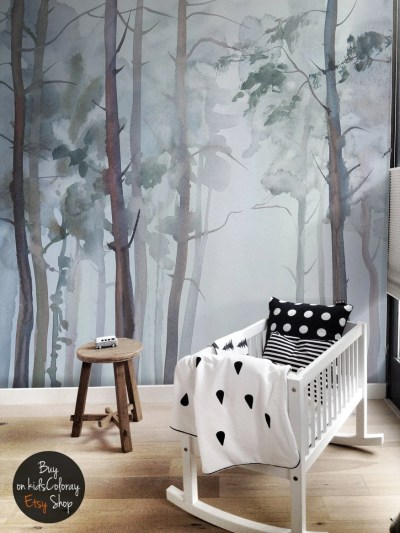 Nature Forest wall mural Peel and stick Gloomy Trees