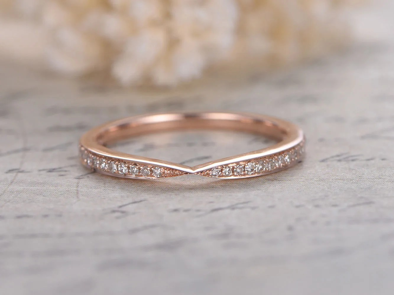 curved wedding band contoured wedding bands Curved Wedding Band Chevron Wedding Band Twist Wedding Ring Half Eternity Ring Art Deco Band Vintage Style Stacking Ring 14K Rose Gold